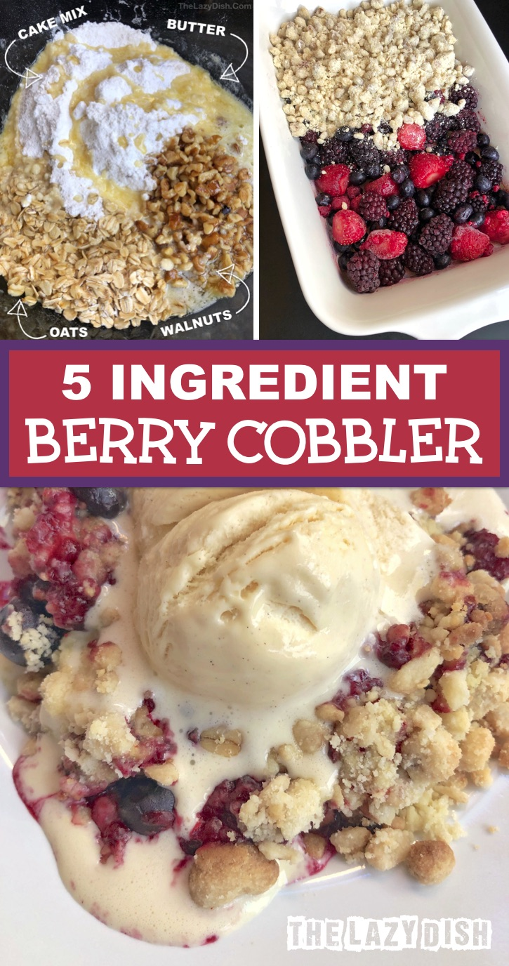 Quick and easy homemade berry cobbler made with cake mix, oatmeal, butter, walnuts and using frozen berries. A simple and cheap easy dessert recipe! The BEST homemade mixed frozen berry cobbler made with just 5 ingredients. This sweet treat is perfect for a crowd or party, but also delicious leftover for days and days! Serve warm with vanilla ice cream. | The Lazy Dish