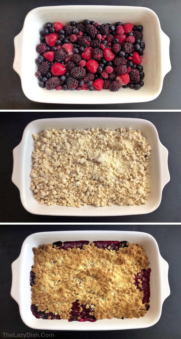 Quick & Easy Berry Cobbler Recipe made with frozen fruit, oats, cake mix walnuts and butter. Looking for easy dessert recipes? This homemade crisp berry cobbler is always a crowd pleaser! It's basically a dump cake and made in one pan with 5 simple ingredients. The Lazy Dish #thelazydish #berrycobbler