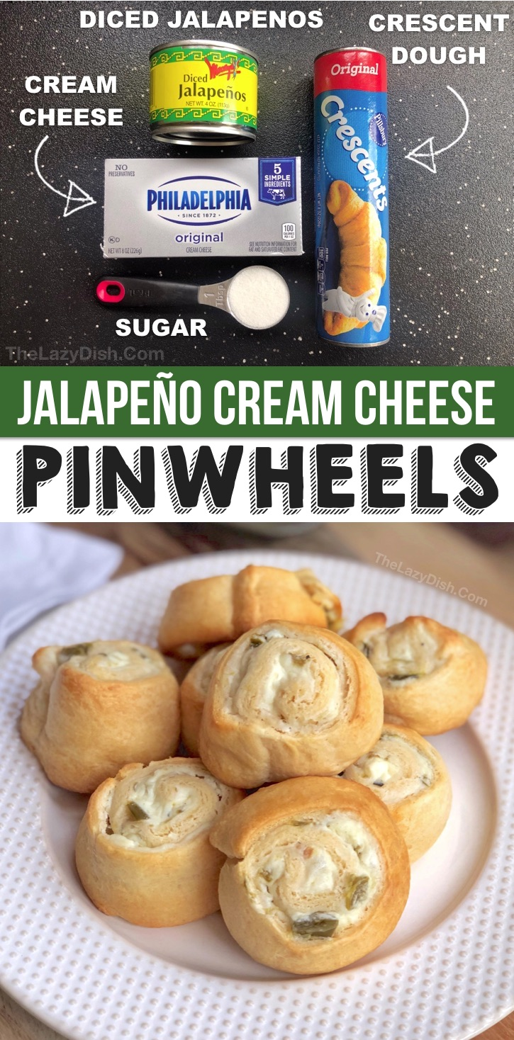 Looking for quick and easy party snacks and appetizers for adults? This easy pinwheel recipe is cheap and simple to make with Pillsbury crescent dough, cream cheese, jalapeños and sugar. The BEST party food on a budget for girls night, game day, parties and more! These easy party roll ups are perfect for any party or just a Sunday comfort food snack. | The Lazy Dish #partyfood