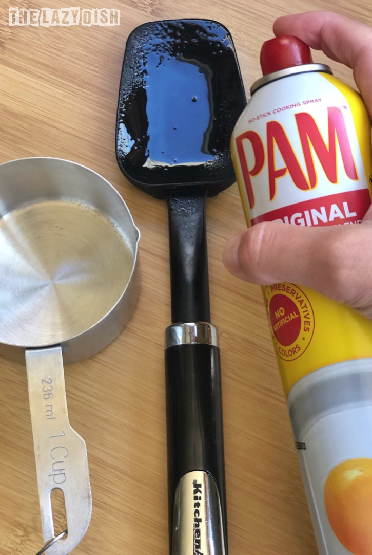Kitchen Hack: spray cooking spray on fingers, spatulas and measuring cups when handling sticky things like honey. The Lazy Dish #thelazydish #hacks #tipsandtricks #kitchenhacks
