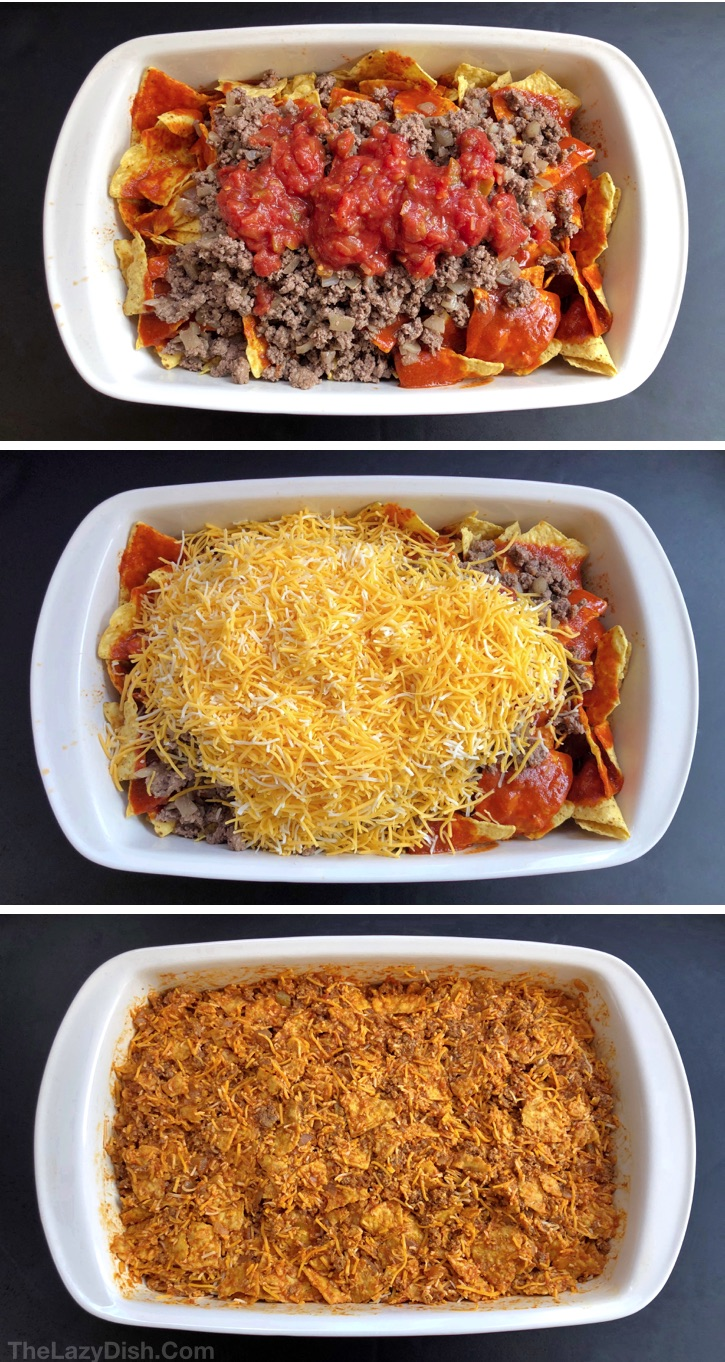 Lazy Enchiladas Casserole made with ground beef and other simple ingredients! Great for the whole family including the kids!