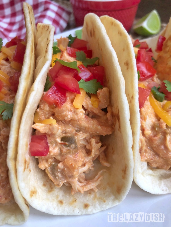 Easy Crockpot Recipe - 3 Ingredient Creamy Shredded Chicken Tacos