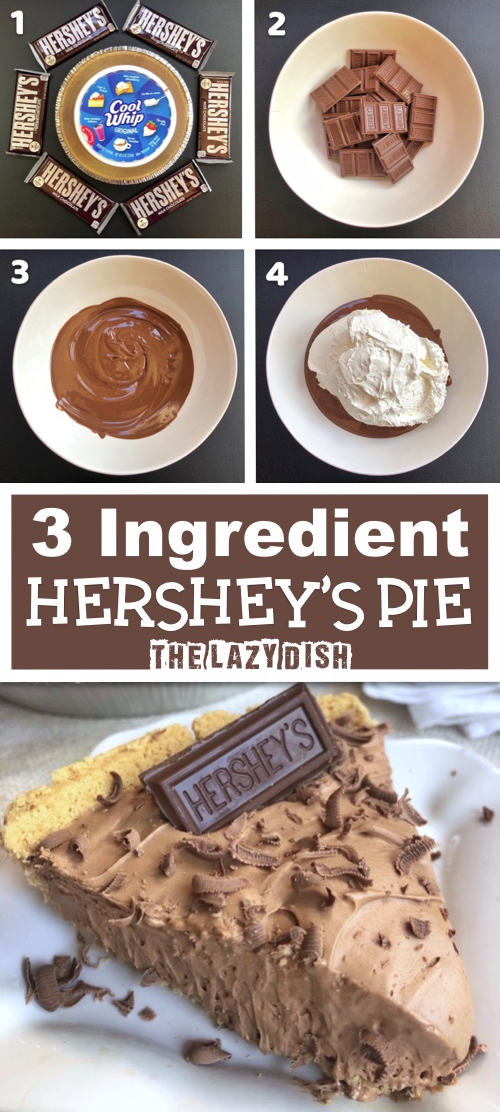 Are you looking for quick and easy no bake dessert recipes? This simple 3 ingredient chocolate pie is absolutely DELICIOUS!! It's incredibly easy to make with just a pie crust, cool whip and Hershey's chocolate bars. This is about as easy as homemade gets. It's incredibly rich with an amazing smooth texture that's like biting into chocolate heaven.