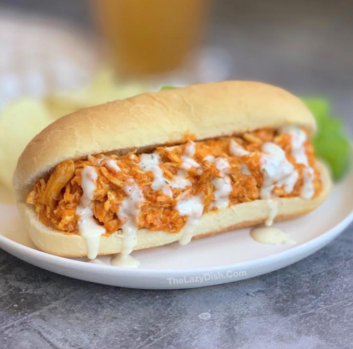 Easy Crockpot Buffalo Chicken Sandwiches