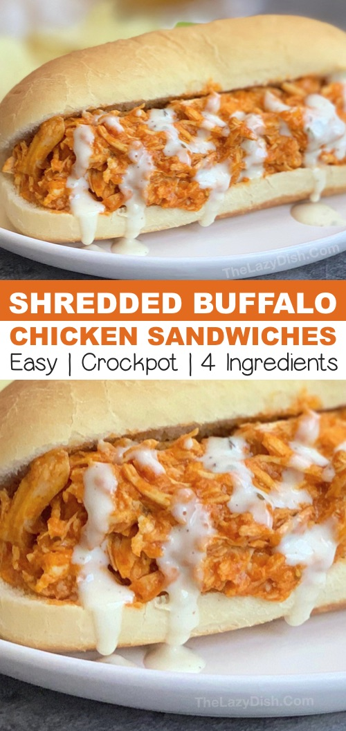Easy Crockpot Shredded Buffalo Chicken Recipe - the best slow cooker chicken recipe! Great served on a sandwich or salad to make it low carb. #thelazydish #buffalochicken #slowcooker #crockpot