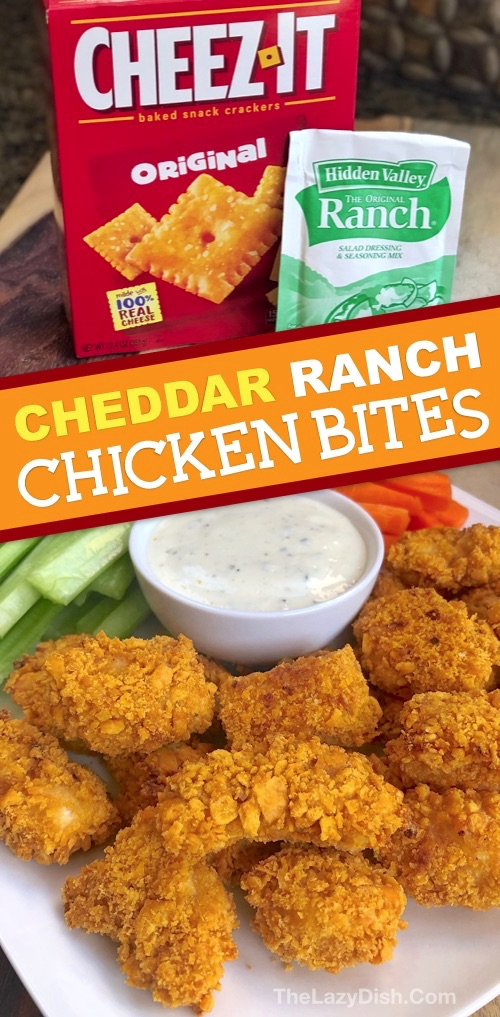 4 Ingredient Easy Cheddar Ranch Chicken Tenders - The entire family will love this easy oven baked chicken recipe! It's cheap, easy and fun to make. The Lazy Dish #thelazydish #chicken