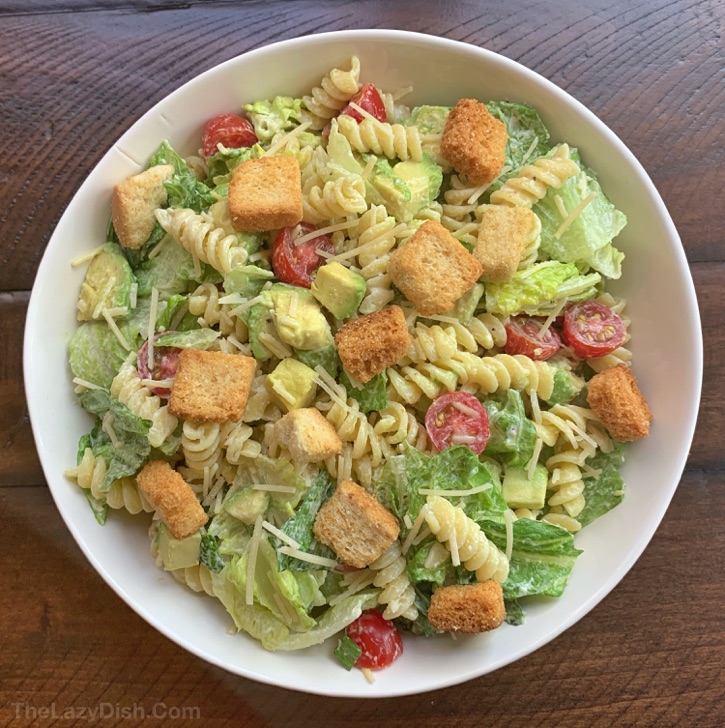 Easy Pasta and Avocado Caesar Salad Recipe - quick and easy party side dish idea!