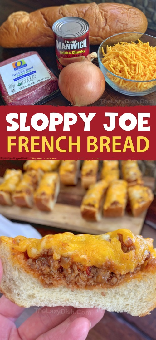 Sloppy Joe French Bread Pizza Slices - This super quick & easy appetizer or snack idea is made with just 5 simple ingredients! It's cheap, tasty and a real crowd pleaser! You can also serve it for lunch or dinner with a side salad. The Lazy Dish #thelazydish #gameday #footballparty #sloppyjoe #appetizers #groundbeef
