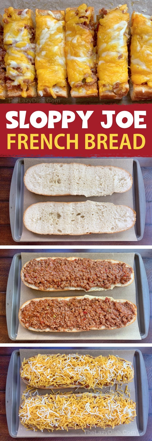 Sloppy Joe French Bread Pizza - This super quick & easy appetizer or snack idea is made with just 5 simple ingredients! It's cheap, tasty and a real crowd pleaser! You can also serve it for lunch or dinner with a side salad. The Lazy Dish #thelazydish #gameday #footballparty #sloppyjoe #appetizers #groundbeef