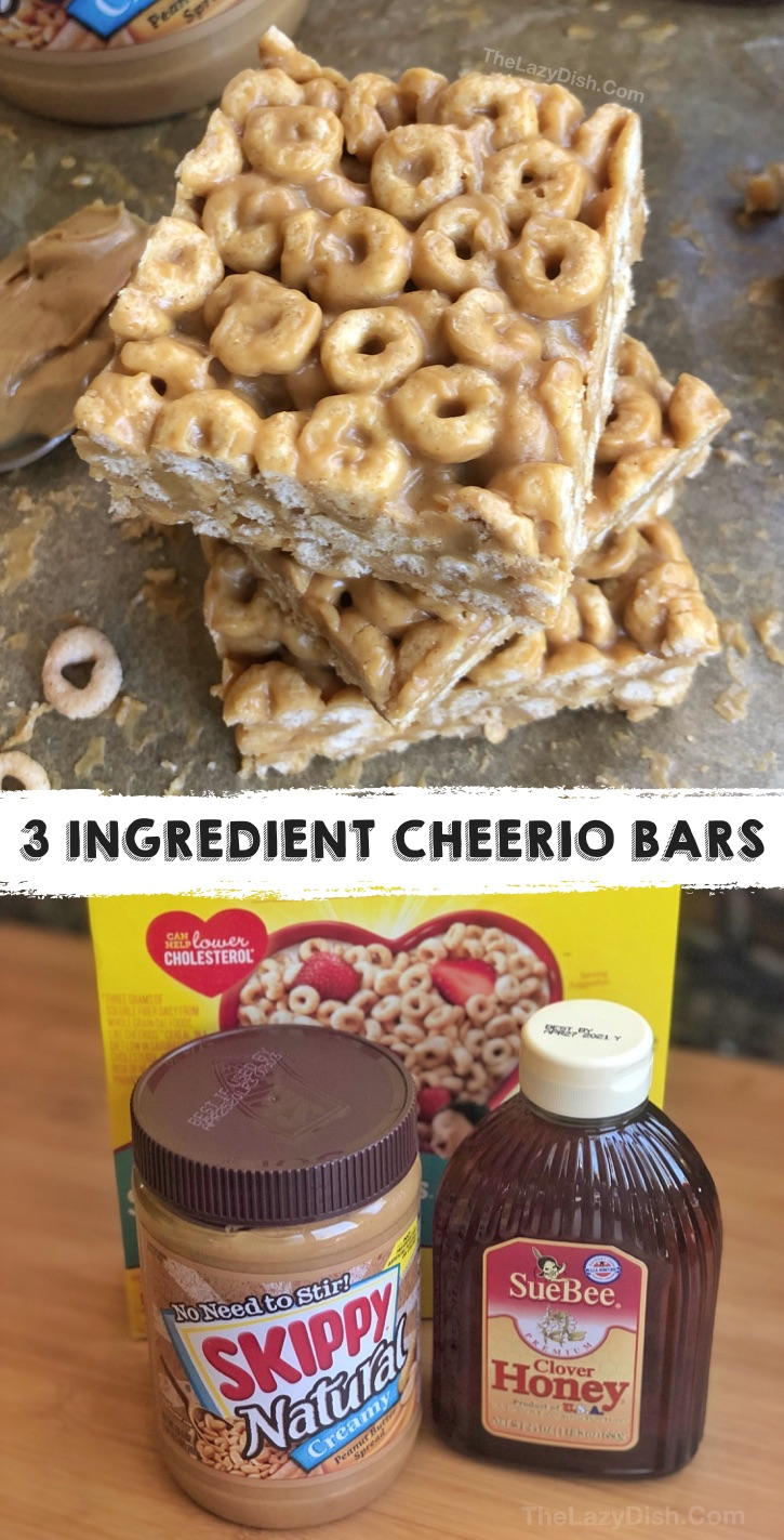 Looking for quick and easy healthy snack ideas for kids? These peanut butter cheerio bars are made with just 3 simple ingredients: peanut butter, honey and cheerios. They are no bake, healthy, cheap and delish! Perfect for school, after school snacks, on the go and sports. Even your picky eaters, toddlers and teens will love this healthy snack recipe. It's budget friendly and fun to make, too. #snackideas #healthysnacks #thelazydish