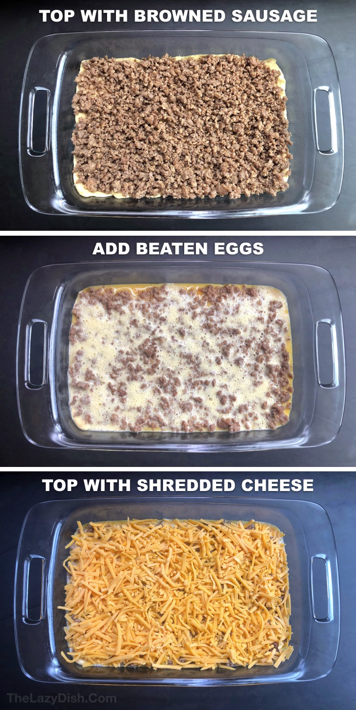 Quick and easy breakfast casserole made with sausage! 4 Ingredients.