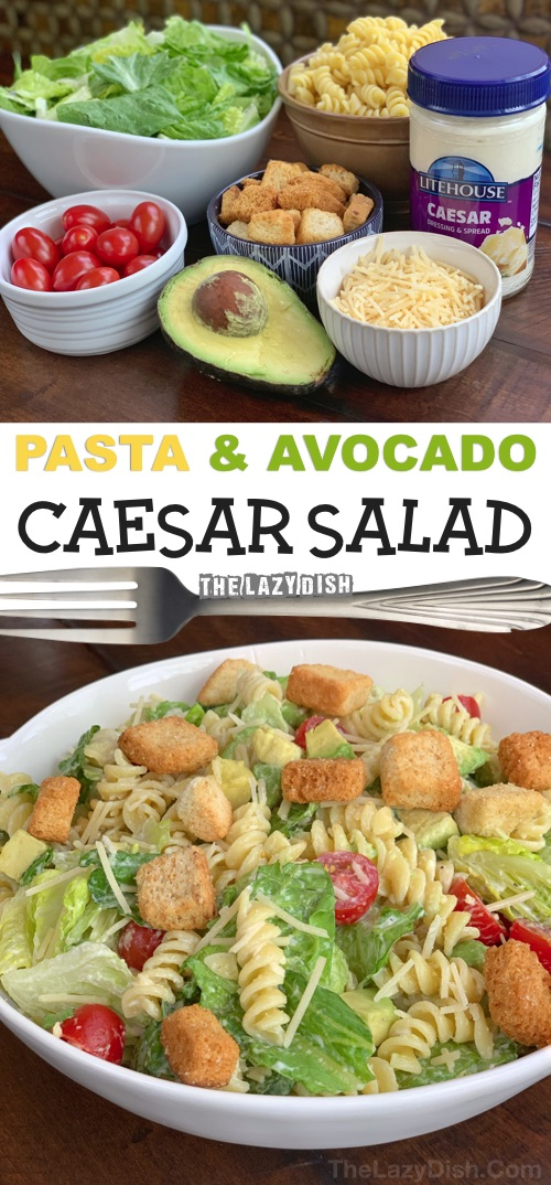 Quick and easy potluck recipe for a crowd! This pasta caesar salad is always a hit. It's so simple, you can toss it together in no time, and it's the perfect party food on a budget. If you are looking for easy potluck ideas, this is it! The Lazy Dish #thelazydish #potluck #partyfood #pastasalad