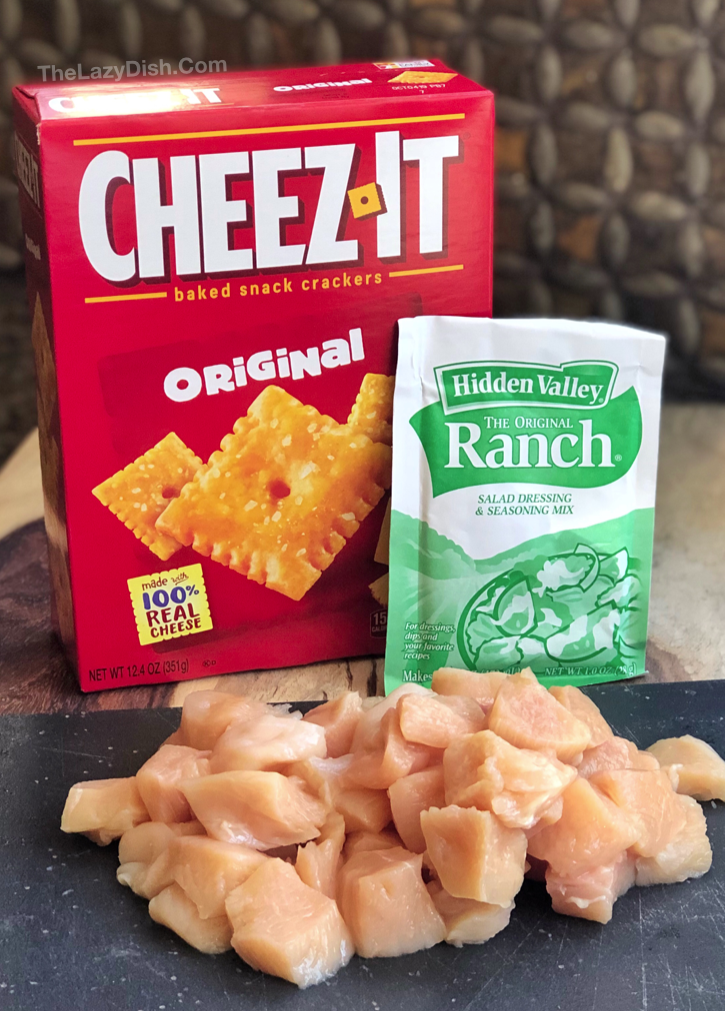 4 Ingredient Easy Cheddar Ranch Chicken Tenders - The entire family will love this easy chicken recipe! It's cheap, easy and fun to make.