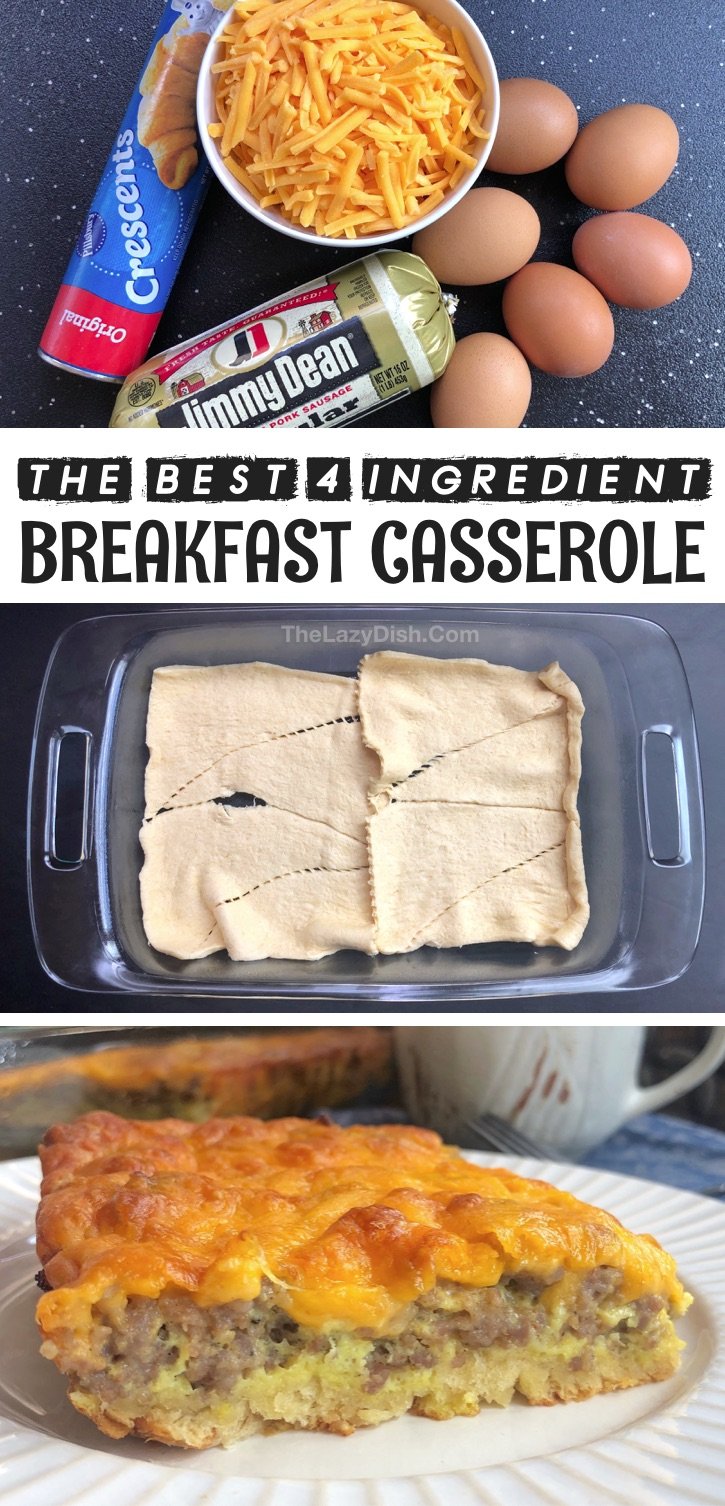 Looking for easy breakfast casserole ideas for the family? This quick and simple sausage breakfast casserole is made with few ingredients: Pillsbury crescent rolls, sausage, eggs and cheese! The entire family will love it including the picky kids. Great for large gatherings or holidays like Christmas morning. It's so cheap and easy to make with just 4 basic ingredients! You could even make ahead the sausage so that's all you have to do is dump everything in the baking dish. #breakfast #casseroles #thelazydish