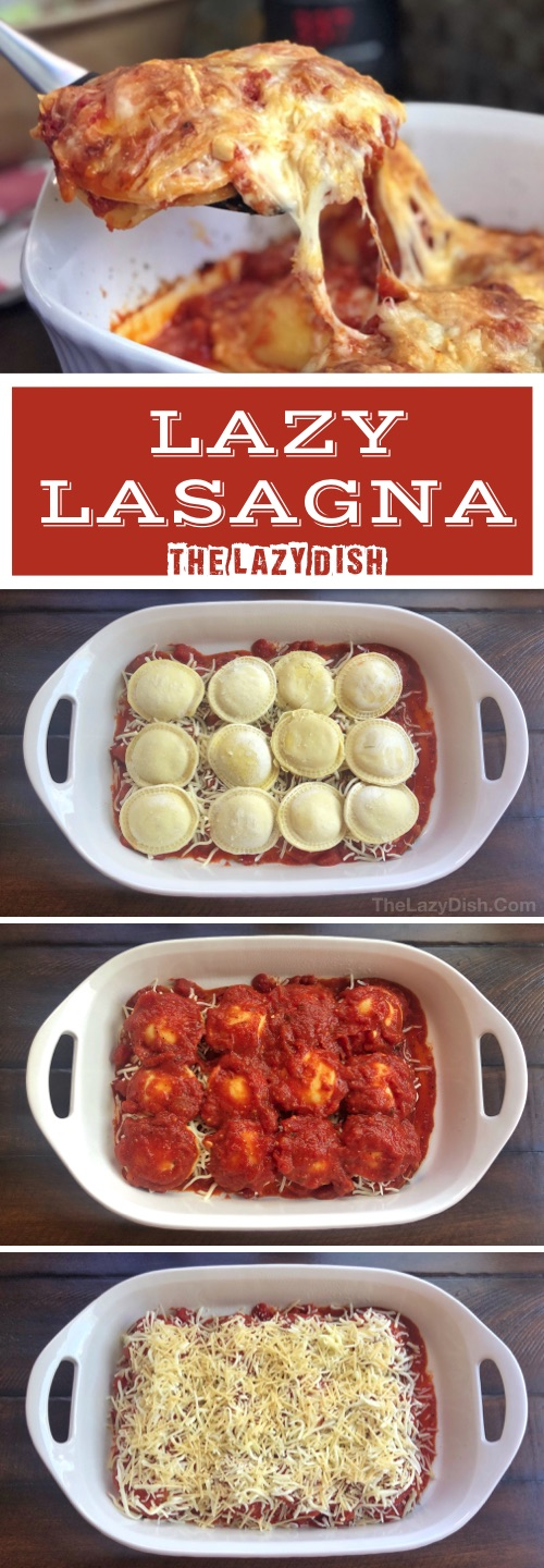 3 Ingredient Baked Ravioli (A.K.A. Lazy Lasagna) - Looking for quick and easy dinner ideas for the family? This 3 ingredient cheap recipe is made with just frozen ravioli, cheese and sauce! Kids and adults love it. The Lazy Dish #thelazydish #dinnerideas #lazyfood