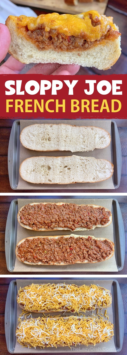Sloppy Joe French Bread Slices - This super quick and easy appetizer or snack idea is made with just 5 simple ingredients! It's cheap, tasty and a real crowd pleaser! You can also serve it for lunch or dinner with a side salad. The Lazy Dish #thelazydish #gameday #footballparty