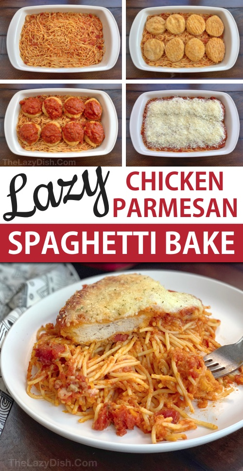 Lazy Chicken Parmesan Baked Spaghetti Casserole (a quick and easy dinner idea for the family!) This budget friendly meal is so simple to throw together, it's prefect for busy week nights. An easy casserole dish made with just 5 ingredients. #thelazydish #easydinner #chickenparmesan