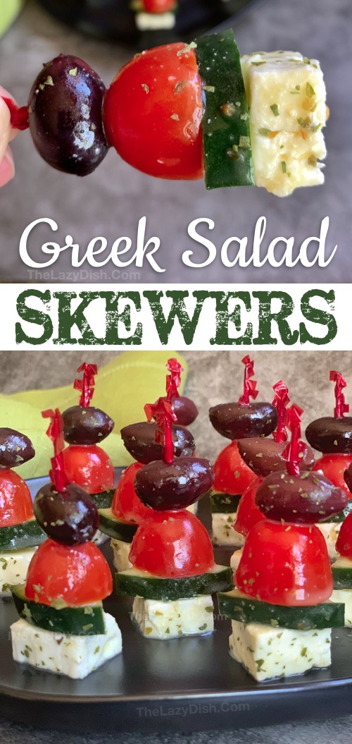 Greek Salad Skewers Appetizer - A quick and easy make ahead cold party appetizer that is always a crowd pleaser! This easy and cheap finger food kabob recipe is healthy, low carb, keto friendly, gluten free and vegetarian! It's perfect for summer, potlucks, brunches, game day, girls night, Cinco de mayo, birthdays, parties or any special occasion. #thelazydish #appetizers #partyfood #lowcarb