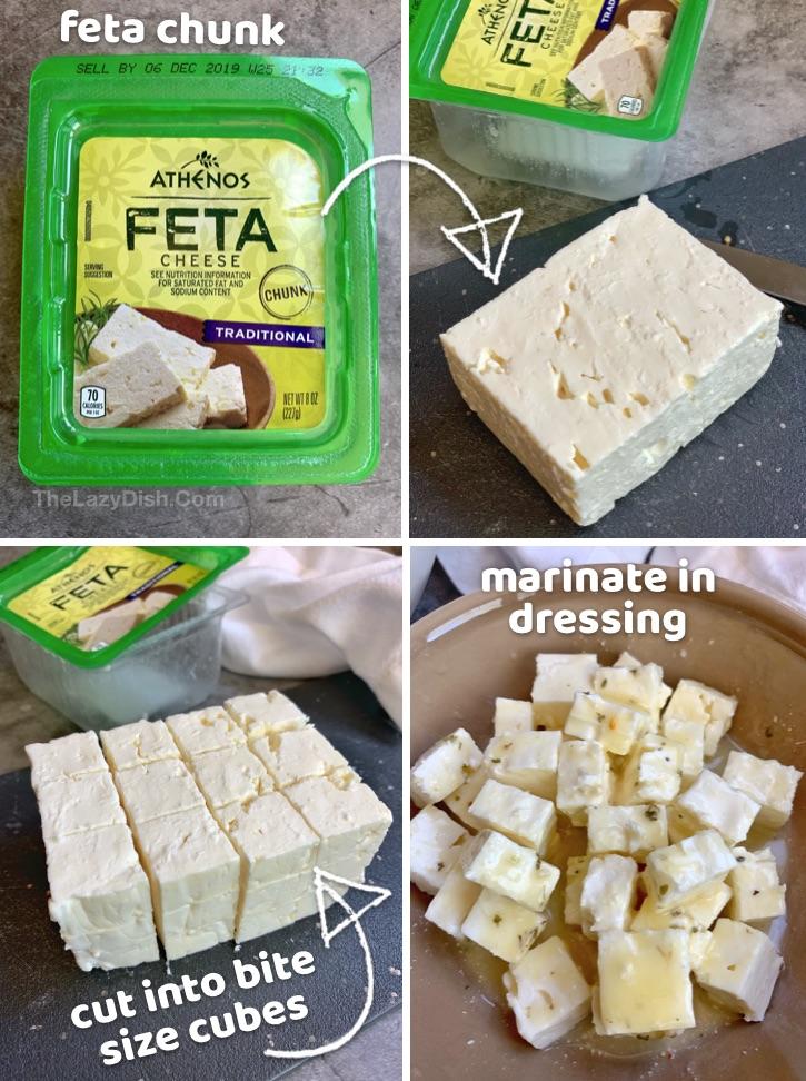 Feta chunk for Greek Salad Skewers
