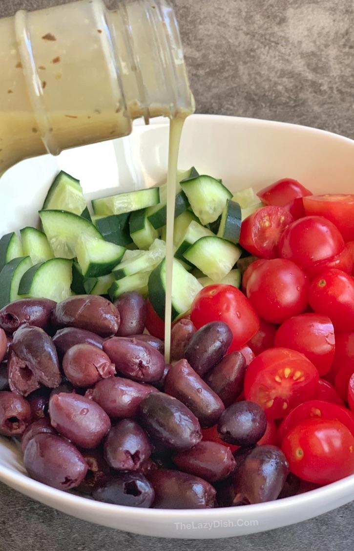 Quick & Easy Greek Salad Skewers made with just 5 ingredients!
