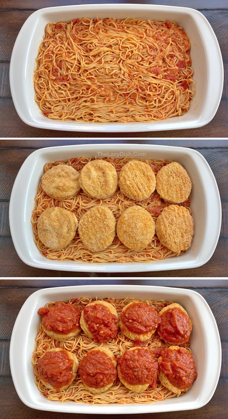 Easy Dinner Recipe: Lazy Chicken Parmesan Baked Spaghetti Casserole