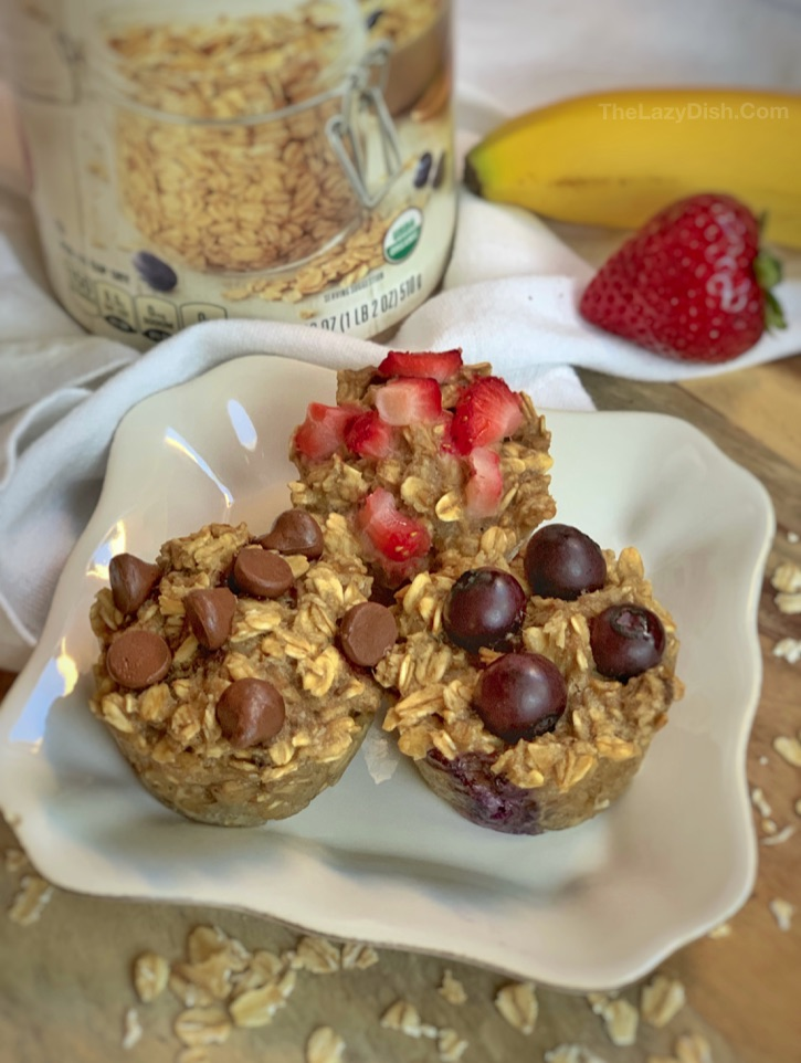 Healthy 3 Ingredient Banana Oat Muffins Recipe -- the perfect on the go snack idea for kids! Great for toddlers. No sugar, no flour, no eggs and vegan friendly. Fast and simple to make.