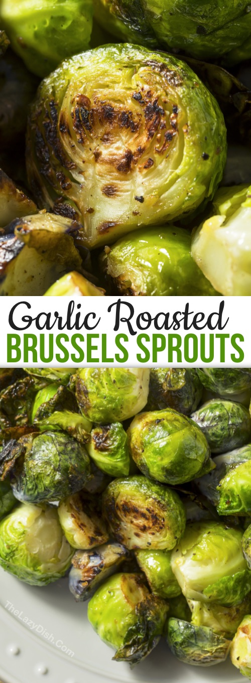 Looking for healthy veggie side dishes? Crispy Oven Roasted Brussels Sprouts With Garlic -- How to roast brussels sprouts to crispy goodness! This easy and healthy side dish recipe is a family favorite. You just need a few simple ingredients to make crispy roasted brussels sprouts: olive oil, garlic, salt and pepper. Sprinkle with parmesan if you'd like! Delish.
