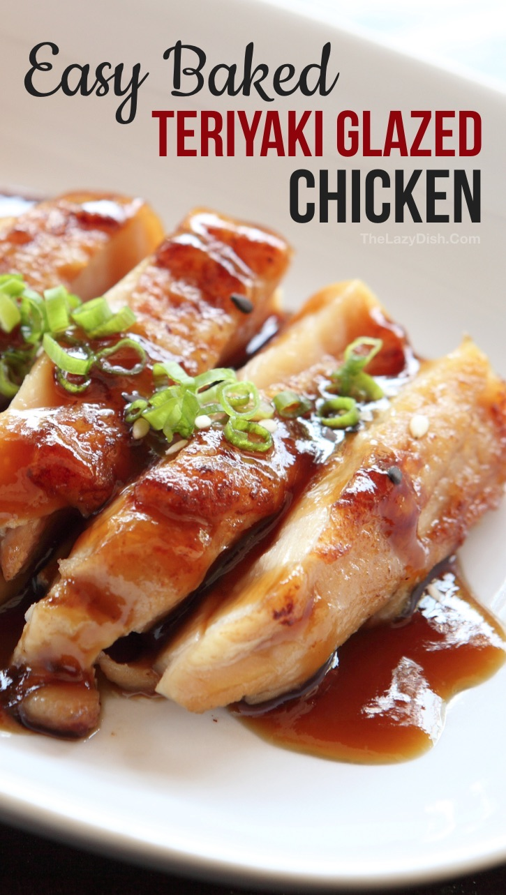 Quick & Easy Chicken Dinner Idea For The Family: Homemade Baked Teriyaki Chicken Recipe -- made with simple and cheap ingredients! This easy dinner recipe is great for busy weeknight meals, even the kids love it! This teriyaki sauce or marinade can also be used for salmon! I find baked chicken breasts to be the easiest, but you can also use grilled chicken, legs or thighs. #thelazydish #chickendinner
