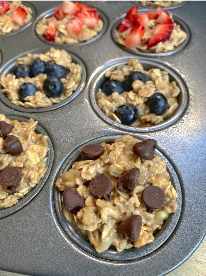 Healthy 3 Ingredient Banana Oat Muffins -- an easy on the go snack idea for kids! No sugar, no flour, no eggs and vegan friendly. Fast and simple to make snack and breakfast idea.