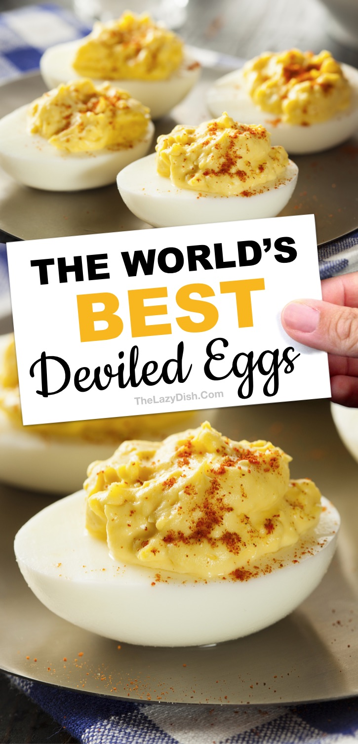 Awesome low carb appetizer idea: The BEST easy classic deviled egg recipe ever made with simple ingredients: mayonnaise, yellow mustard, apple cider vinegar and seasoning to taste (plus tips and tricks on how to perfectly boil eggs for easy peel removal). The Lazy Dish #thelazydish