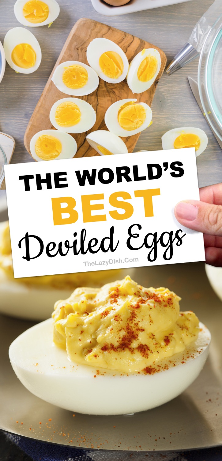 Awesome keto appetizer idea: The BEST easy classic deviled egg recipe ever made with simple ingredients: mayonnaise, yellow mustard, apple cider vinegar and seasoning to taste (plus how to perfectly boil eggs for easy peel removal plus lots of other tips). The Lazy Dish #thelazydish