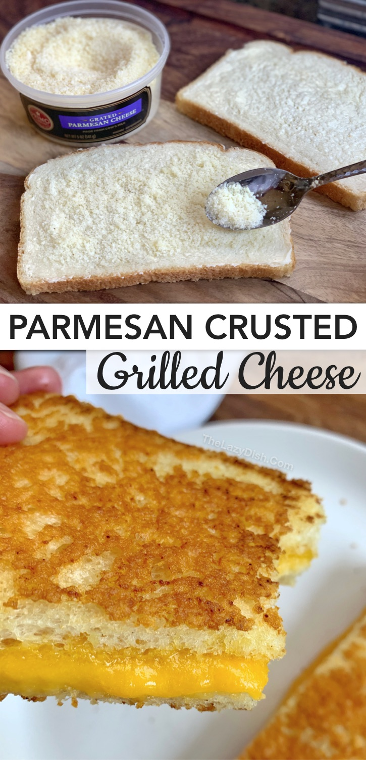 Easy grilled cheese recipes, ideas and tips on how to make the best grilled cheese sandwich. Everything from vegetarian to bacon loaded! Plus how parmesan can turn a classic grilled cheese from boring to gourmet with this Parmesan Crusted Grilled Cheese. The ultimate comfort food! #thelazydish #grilledcheese