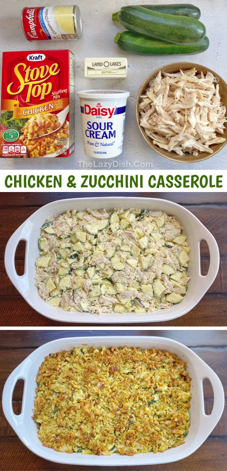 Looking for easy and healthy family dinner recipes for your picky eaters? This weeknight meal is made with cheap and simple ingredients: rotisserie chicken, zucchini, stuffing, soup, sour cream and butter! It's filled with flavor and loaded with healthy veggies. Your kids and hungry husband will love this easy meal. Perfect for busy moms and dads! It's fast, budget friendly and delicious! What more could you ask for? A yummy rotisserie chicken idea. #chicken #dinnerideas #casserole #thelazydish