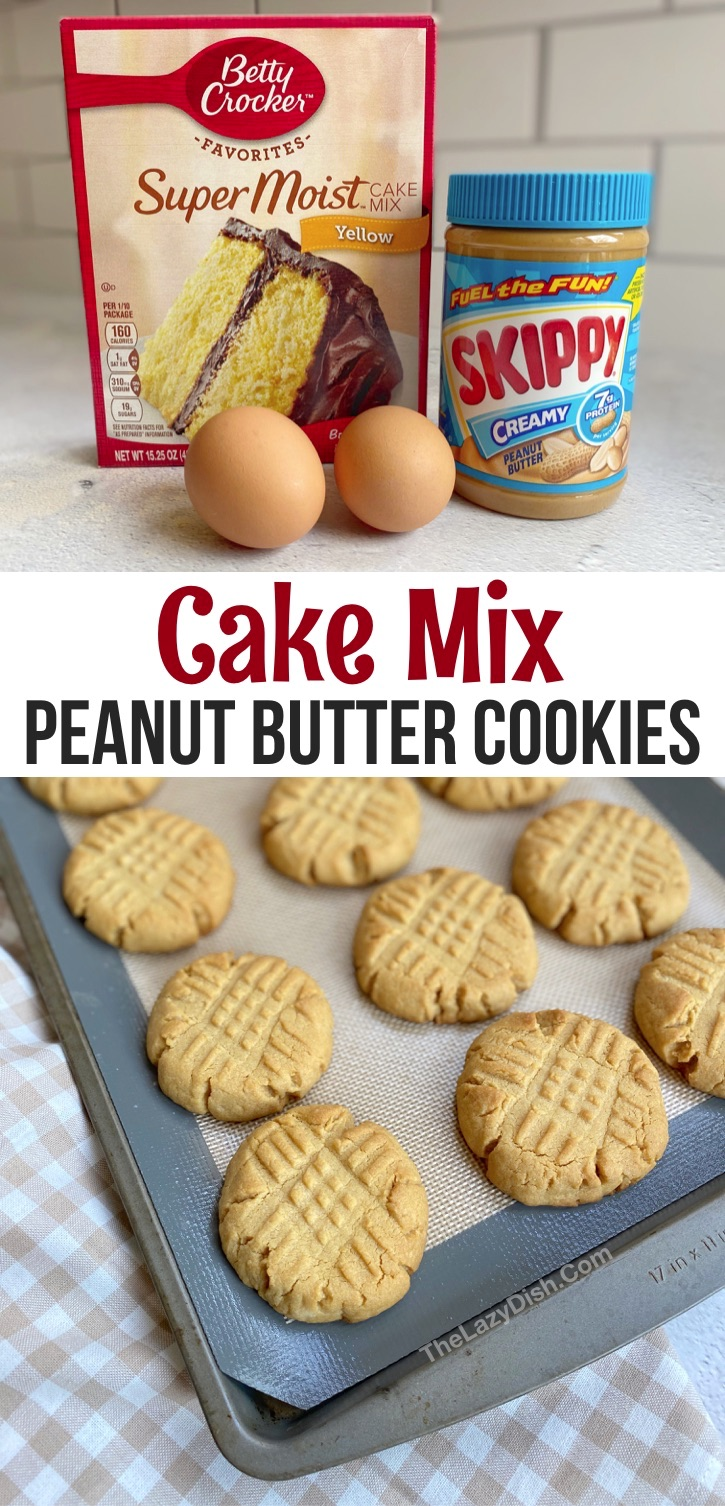 Looking for easy desserts with few ingredients? These are the best soft and chewy homemade peanut butter cookies made with yellow cake mix! This 4 ingredient cookie recipe is so quick, simple and cheap to make. Cake mix cookies are my favorite treat-- easy enough for the kids to make! #cookies #peanutbutter #cakemix #desserts #thelazydish