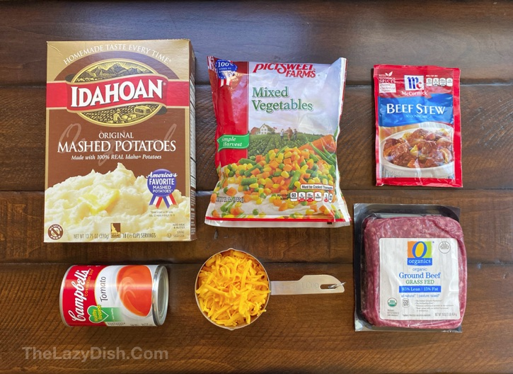 Ingredients for quick and easy shepherd's pie recipe.