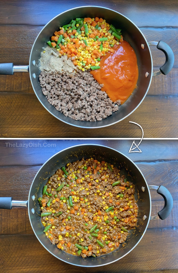 How to make the best easy shepherd's pie with ground beef.