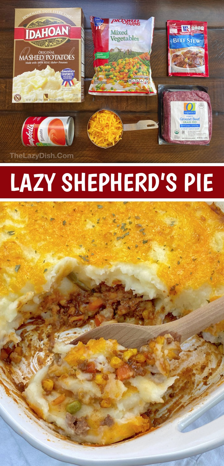 Looking for quick and easy family dinner recipes? Check out this simple casserole dish: The BEST Lazy Shepherd's Pie (made with ground beef). This kid friendly dinner idea is perfect for busy moms and dads. Even your picky eaters and husband will devour it! It's made with few ingredients and is a family favorite for busy weeknights. The best comfort food, but loaded with healthy veggies! If you're looking for cheap ground beef recipes for dinner, this easy layered casserole is great for large families with kids. #thelazydish #easydinner #groundbeef