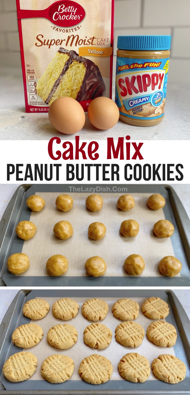 Looking for quick and easy dessert recipes for kids? These simple homemade peanut butter cookies are made with just 4 cheap ingredients: yellow cake mix, eggs, peanut butter and oil. The BEST cookies! They're so soft and chewy! These sweet treats or perfect for a crowd or just a quick dessert at home. You could also add chocolate chips or kisses! If you're looking for creative dessert ideas with few ingredients that are super easy to make, give these cake mix cookies a try. #cake mix #cookies