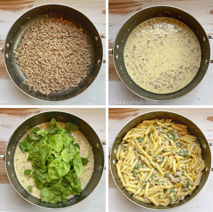 Homemade Creamy Pasta Recipe (with sausage and spinach)