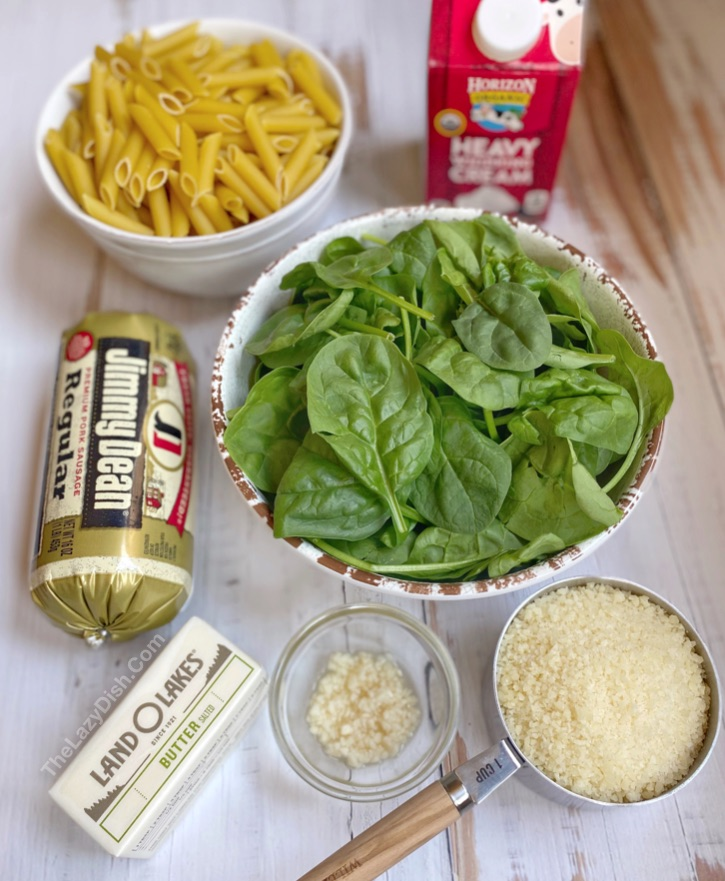 Easy Creamy Sausage Pasta Recipe (made with cheap and few ingredients!)