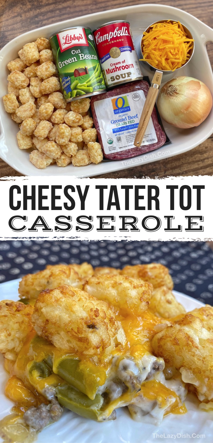 Looking for cheap and easy dinner recipes for the family? Your kids and picky eaters will love this simple weeknight meal made with few ingredients: ground beef, frozen tater tots, cheese, cream of mushroom soup, green beans and onion! The BEST comfort food, seriously. Great for hungry teenagers and husbands, too. Such a simple and family friendly dinner recipe that is kid approved. Perfect for busy moms and dads on school nights. just right for a family of 6 (or if you like leftovers). Yummy!