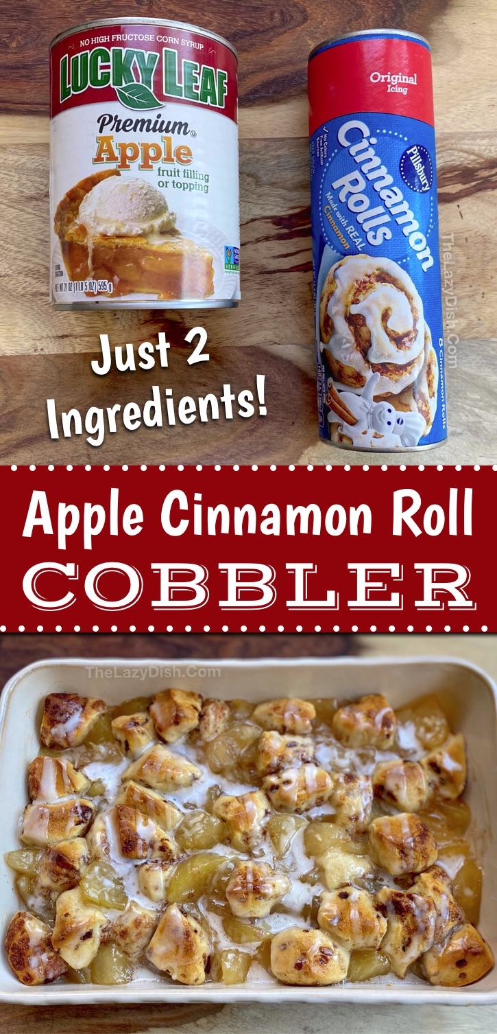 Looking for easy dessert recipes made with few ingredients? Here you go! This apple cinnamon roll cobbler is made with just 2 simple and cheap ingredients: apple pie filling and a tube of Pillsbury cinnamon rolls. It's quick, simple and cheap to make. Perfect for fall or any time of the year when you're craving something warm. Great with ice cream! #applecobbler #pillsbury #cinnamonrolls #thelazydish