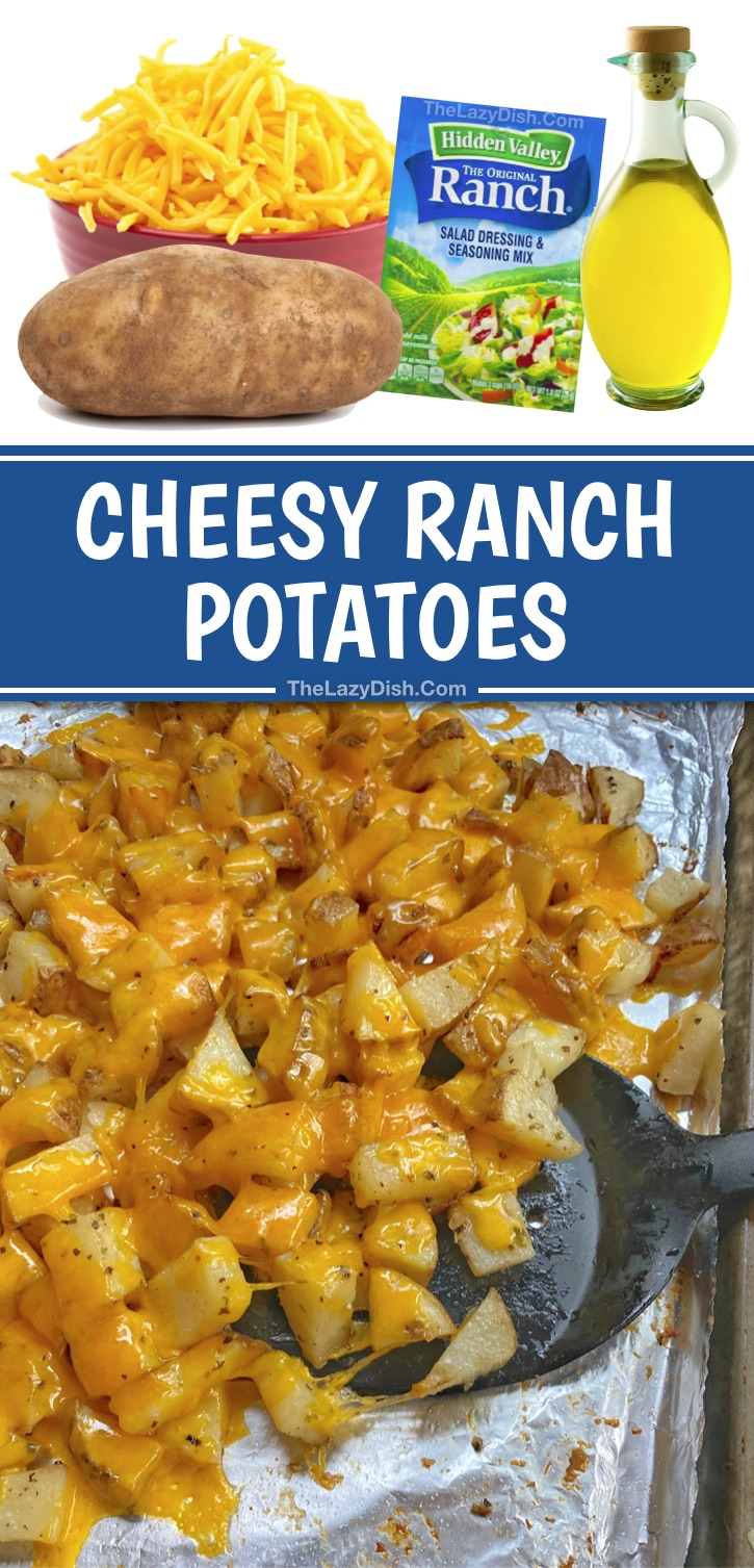 Looking for quick and easy potato side dishes? These cheesy ranch oven baked chopped potatoes are the best side dish for chicken, steak, bbq and seafood! They are easy to bake or roast in the oven with a few simple ingredients: russet potatoes, cheddar, olive oil, ranch seasoning and garlic powder. A quick and easy potato recipe for the family! Even your picky kids will love these roasted cheesy garlic potatoes. #sidedish #comfortfood #potatoes #cheesy #thelazydish