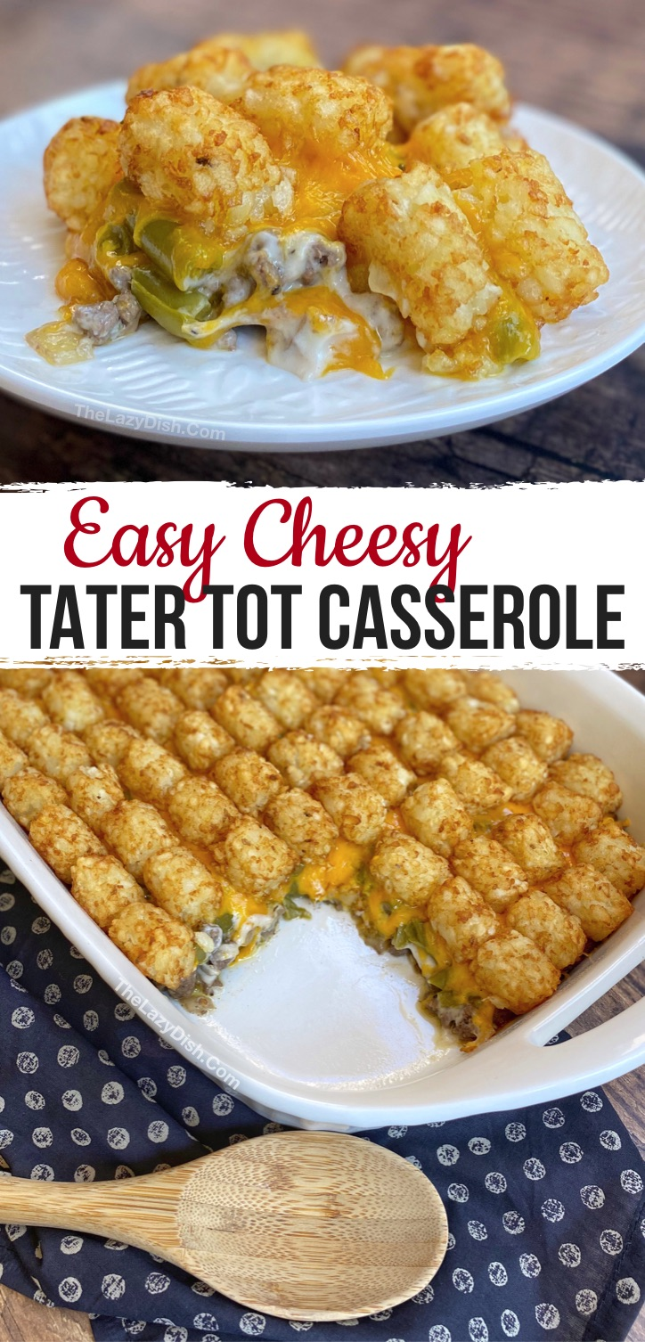 Your family is going to love this quick and easy dinner recipe! It's super simple to make with cheap ingredients including ground beef, frozen tater tots, cream of mushroom soup, green beans, cheese, onion and seasoning. Some serious comfort food! Perfect for kids (even your picky eaters) and hungry husbands. A great weeknight family meal made with few ingredients. Seriously, the BEST comfort food! #familymeals #dinnerideas #comfortfood #thelazydish