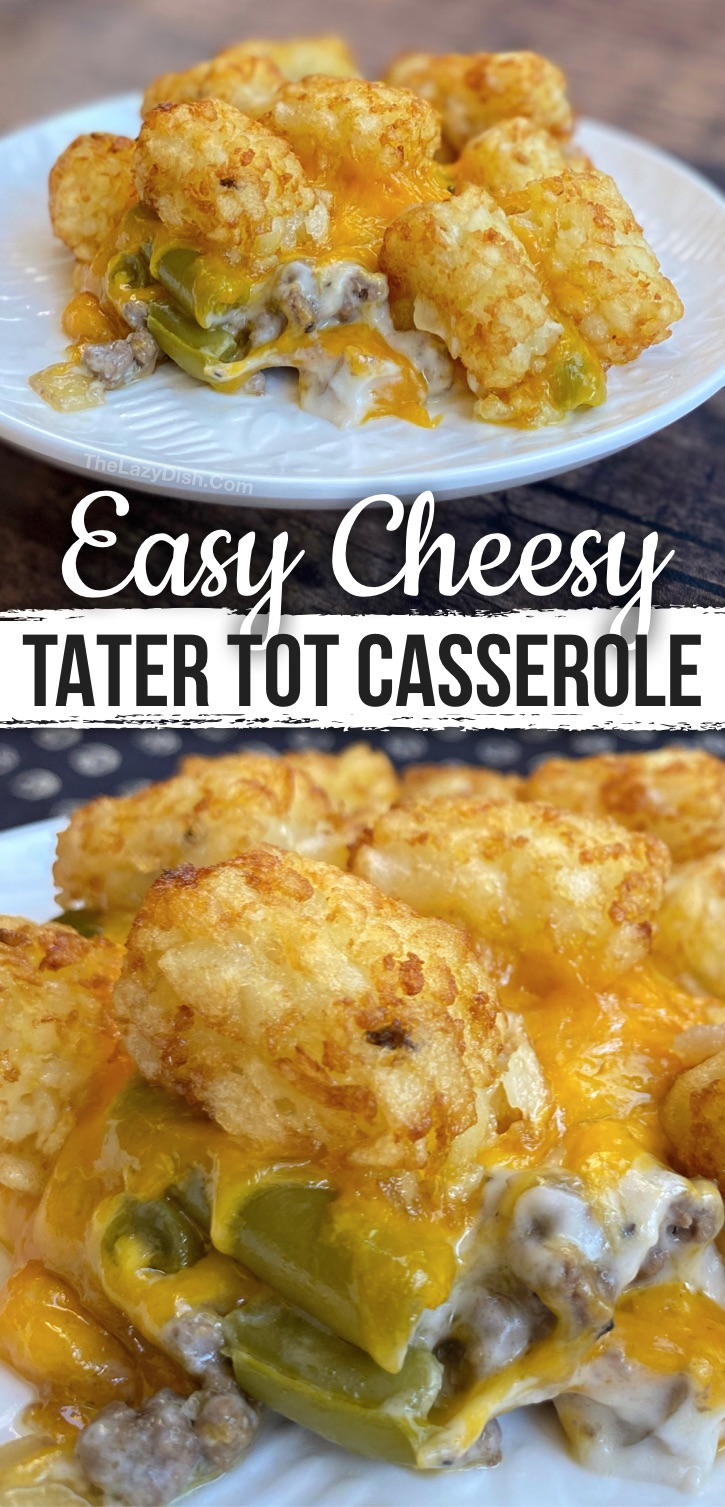 The BEST Tater Tot Casserole (Quick and easy to make with ground beef!). This simple weeknight meal will be very popular with your family, including your picky eaters. Kids and hungry husbands love this simple casserole! Cheap and budget friendly, too. #easydinners
